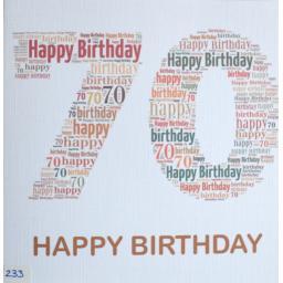 Happy Birthday 70  - order code 233