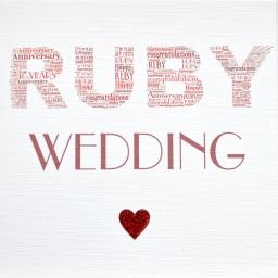 RUBY WEDDING ANNIVERSARY with sparkle  order code 390