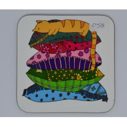Coaster - cat on cushion (order code - C071)