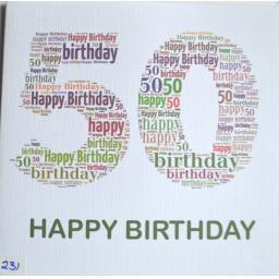 Happy Birthday 50  - order code 231