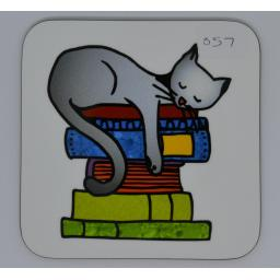 Coaster - cat on books - order code CO69