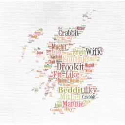 MAP OF SCOTLAND WITH DORIC WORDS  order code 338