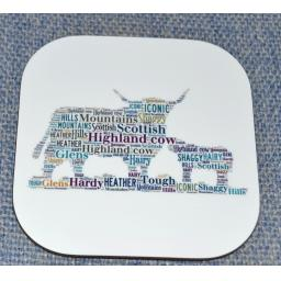 Highland cow and calf coaster
