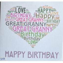 Happy Birthday GREAT GRANNY - order code 458