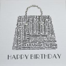 HANDBAG HAPPY BIRTHDAY with sparkle and diamond  - order code 250