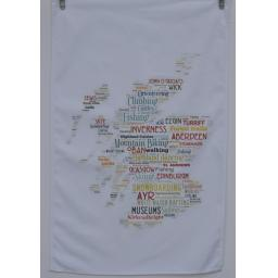 Map with SCOTTISH TOWNS TEA TOWEL