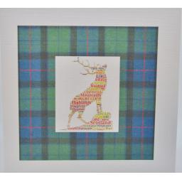 Word art stag on a tartan background(order code 611)