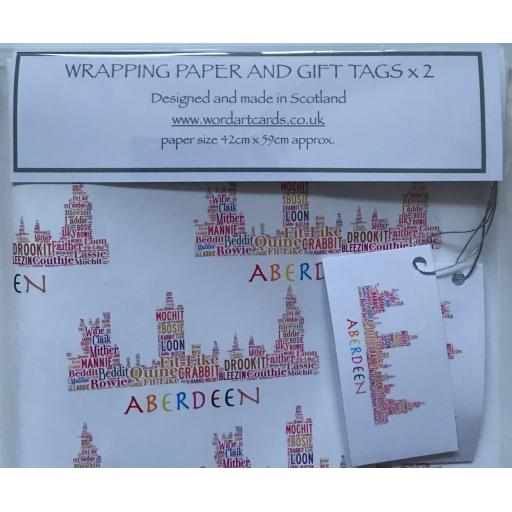 ABERDEEN SKYLINE - BRIGHT COLOURS WRAPPING PAPER