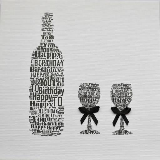 WINE BOTTLE WITH GLASSES AND BOWS - order code 253