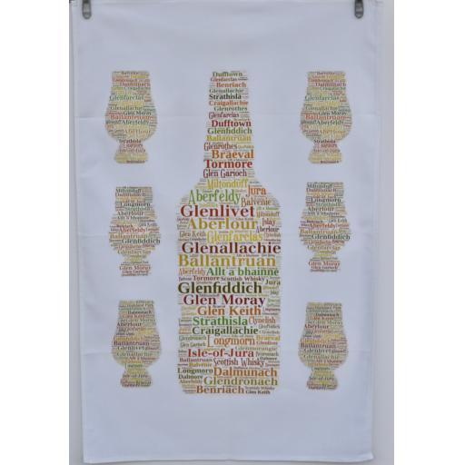 Tea Towel - Whisky Bottle and glasses