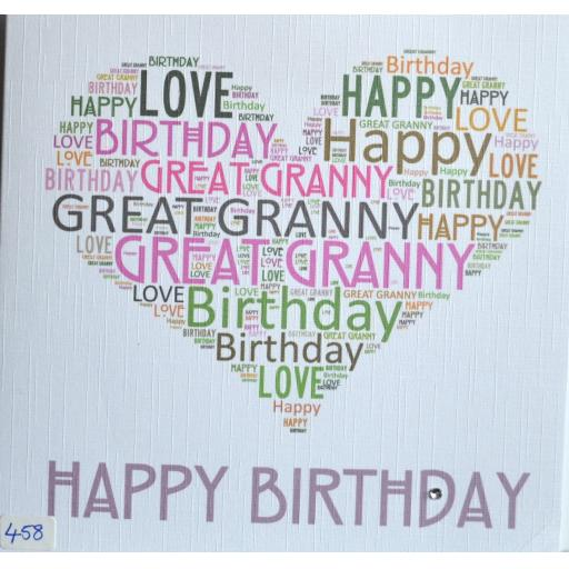 Happy Birthday GREAT GRANNY - order code 458
