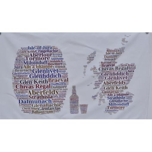 Tea towels - Whisky map bottle barrel and glass