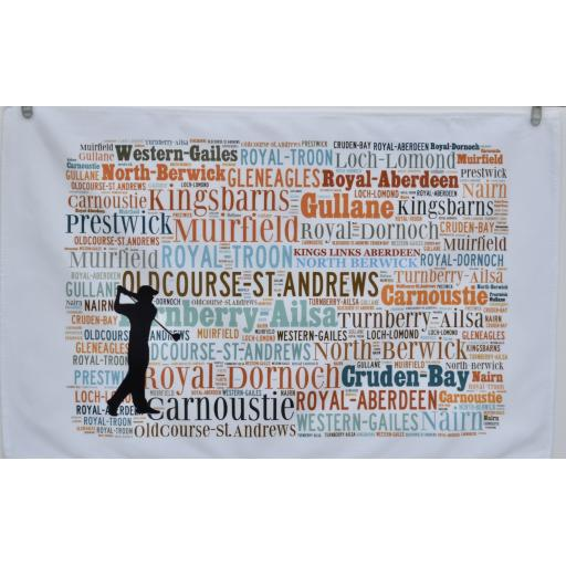 GOLF COURSES OF SCOTLAND TEA TOWEL
