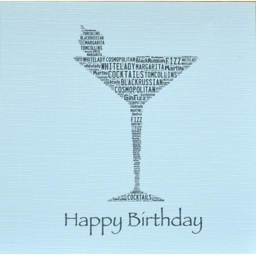 COCKTAIL GLASS HAPPY BIRTHDAY with sparkle -  order code 245