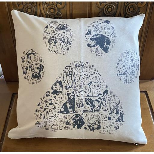 Paw print full of dogs Cushion