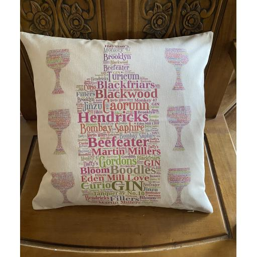 Cushion with Gin Names