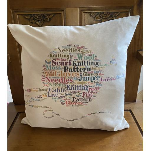 Word Art Knitting cushion
